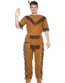 Disfraz de indio valiente con flecos para hombre