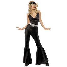 Disfraz de diva de los 70 en negro