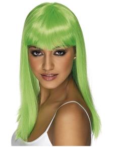 Peluca Glamourama verde neón con flequillo