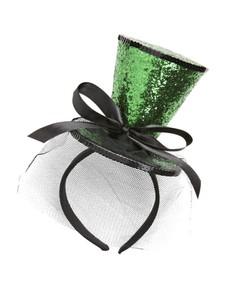 Minisombrero de copa verde con velo