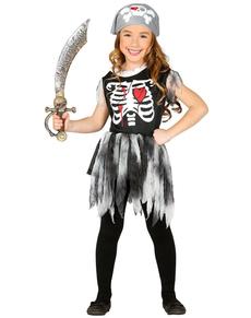 Disfraz de esqueleto pirata para niña