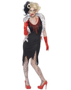 Disfraz de Cruela zombie para mujer