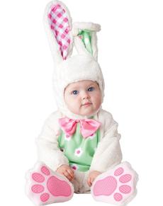 Disfraz de conejito rosa y verde para bebé