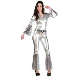 Disfraz de diva disco plateada para mujer
